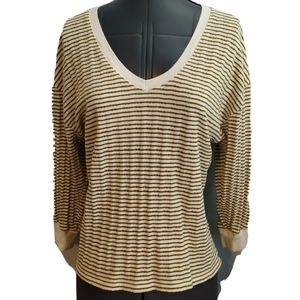 Anthropologie V Neck Shirt Top M stripe gold ivory